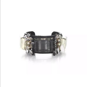 J.crew leather crystal clear black cuff bracelet